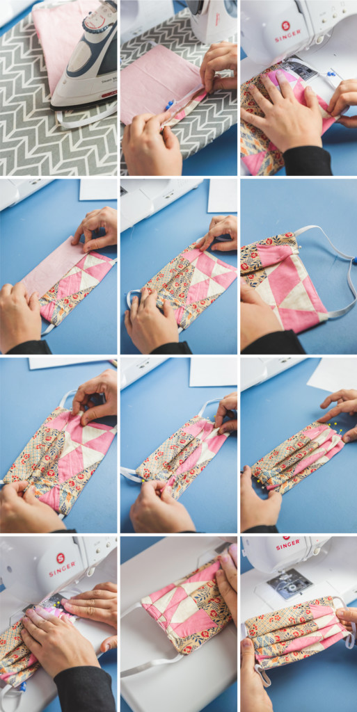 step by step photos of sewing and finishing a quilted face mask