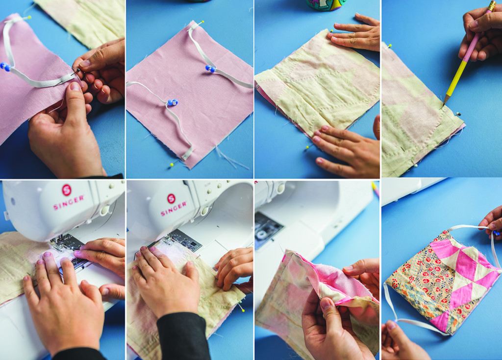 step by step photos of sewing a quilted face mask